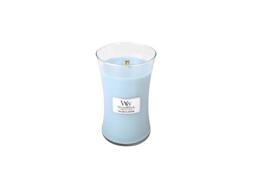 Svíčka oválná váza  WoodWick  609,5g - Mořská sůl a bavlna