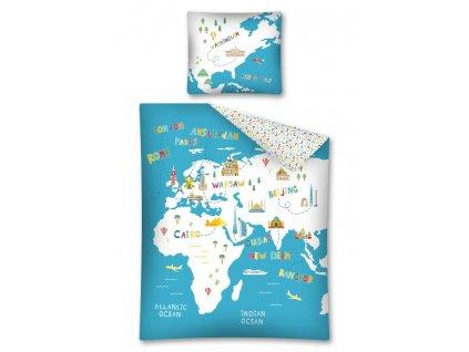 Bavlněné povlečení - Mapa - 140x200 + 70x80