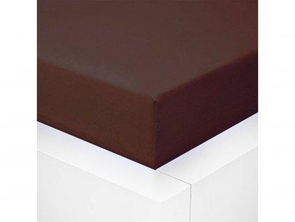 Jersey prostěradlo  LYCRA 90x200 / 25cm - čokoládové