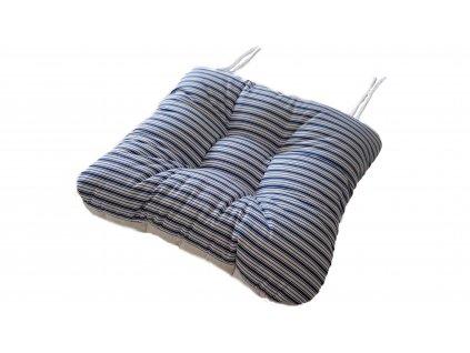 Sedák na křeslo oboustranný -  Bílý + Pruhy modré