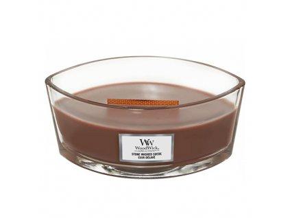 Svíčka oválná váza  WoodWick  454g - Semišové santalové dřevo