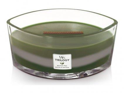 Svíčka oválná váza  WoodWick TRILOGY  454g - Horská stezka