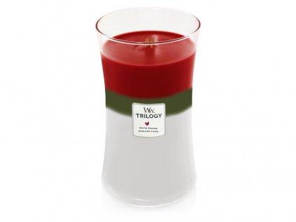 Svíčka oválná váza  WoodWick Trilogy 609,5 g - Zimní girlanda