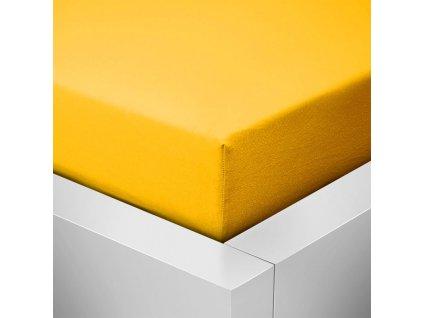 Jersey prostěradlo  LYCRA 180x200 / 25cm - sytě žlutá