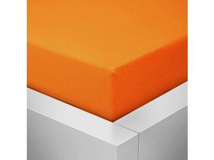 Jersey prostěradlo  LYCRA 180x200 / 25cm - oranžové