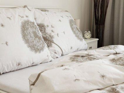 Bavlněný povlak na polštář 70x90 - Pampelišky bílo-béžové