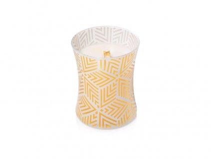 Svíčka oválná váza  WoodWick 275g - Bílý teak design