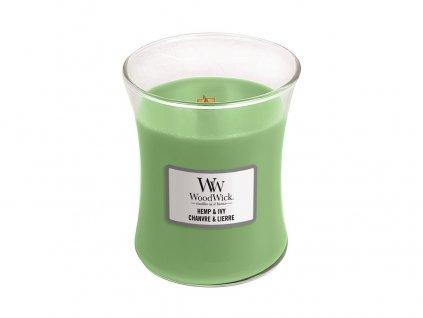 Svíčka oválná váza  WoodWick 85g - Konopí a břečťan