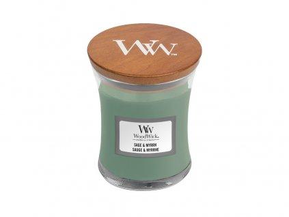 Svíčka oválná váza  WoodWick 85g - Šalvěj a myrha