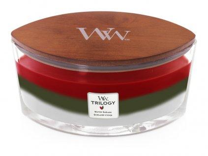 Svíčka oválná váza  WoodWick TRILOGY  454g - Zimní girlanda
