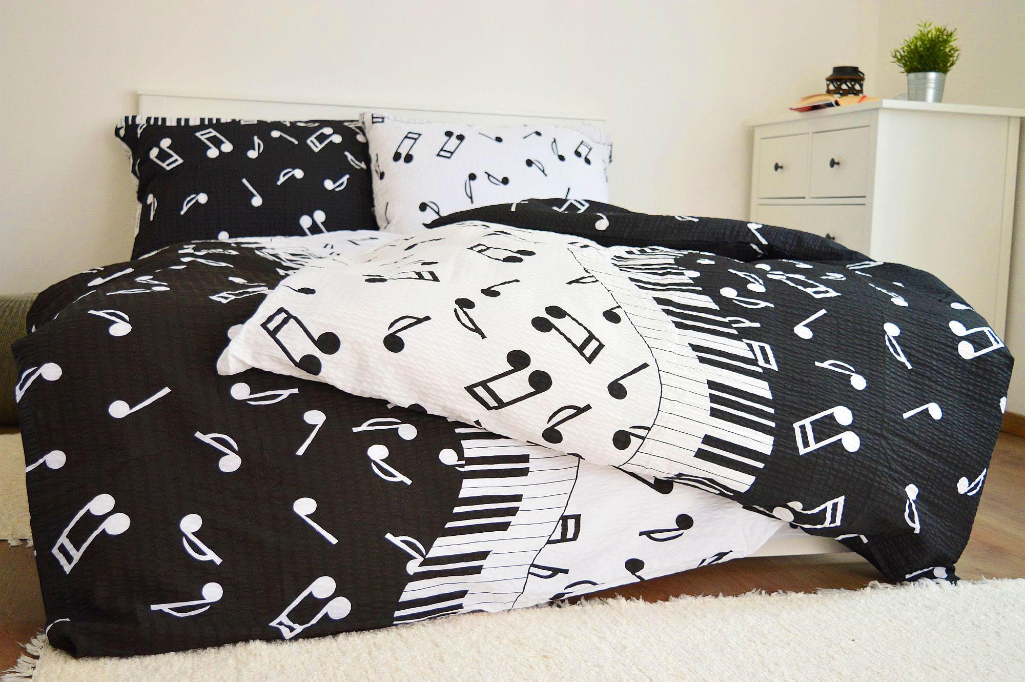 Krepové obliečky 140x260 - Piáno čierne