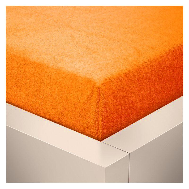 Froté prostěradlo  90x200 /25cm - oranžové