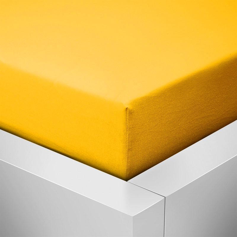 Jersey prostěradlo  LYCRA 90x200 / 25cm - sytě žluté