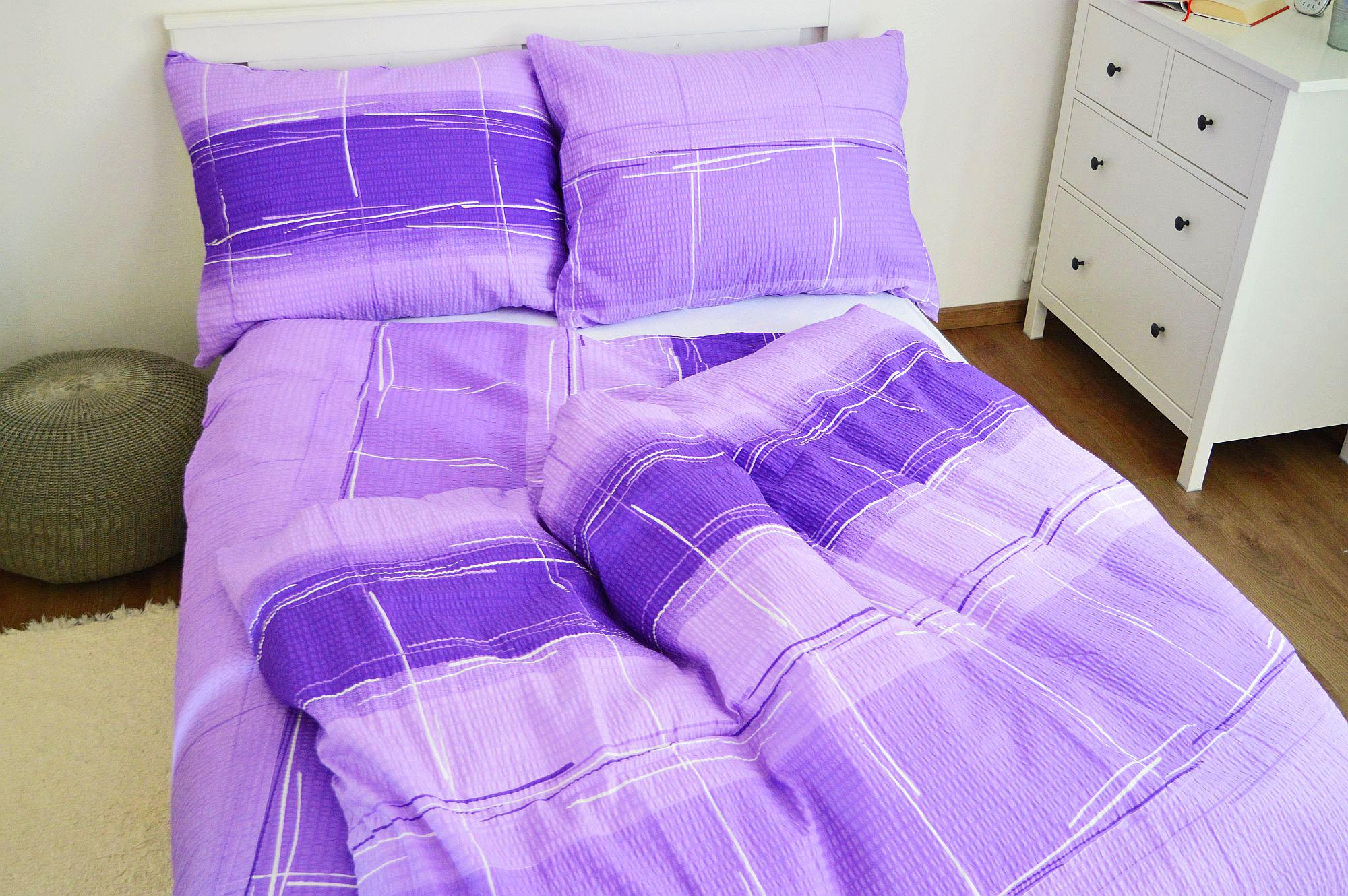 Krepové povlečení 140x220 - Cákance fialové
