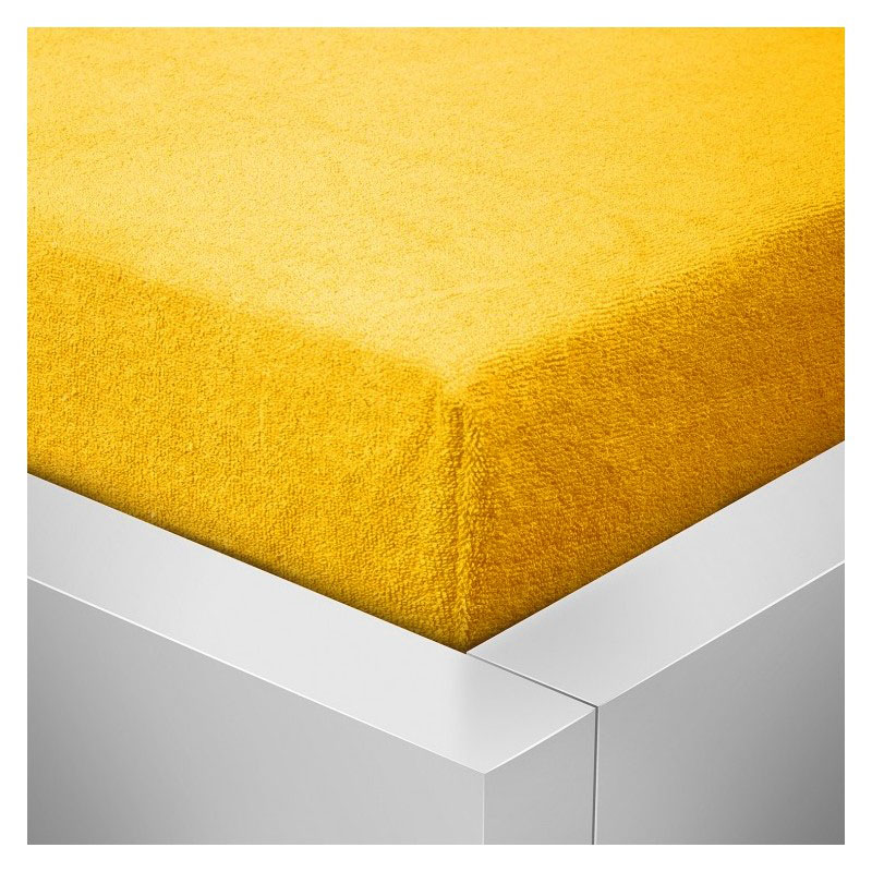 Froté prostěradlo  90x200 /25cm - sytě žluté