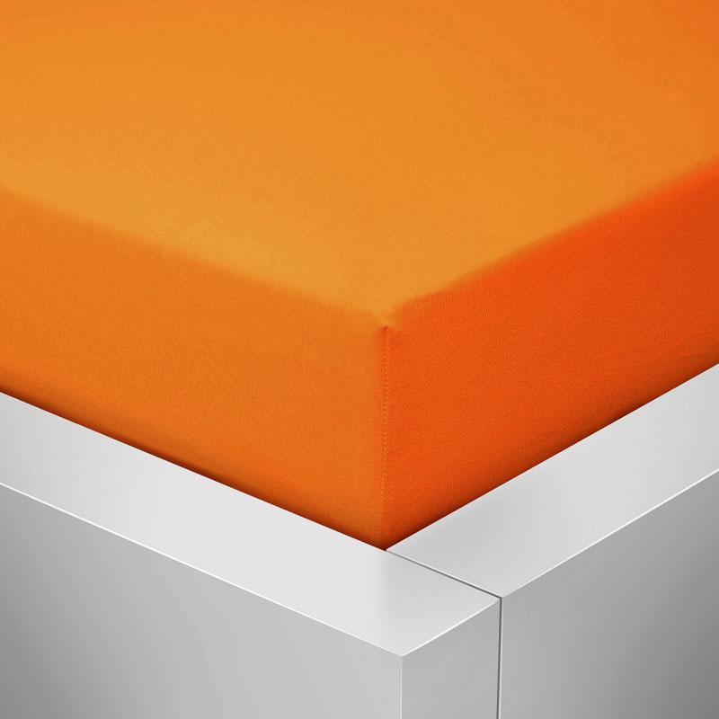 Jersey prostěradlo  LYCRA 90x200 / 25cm - oranžové