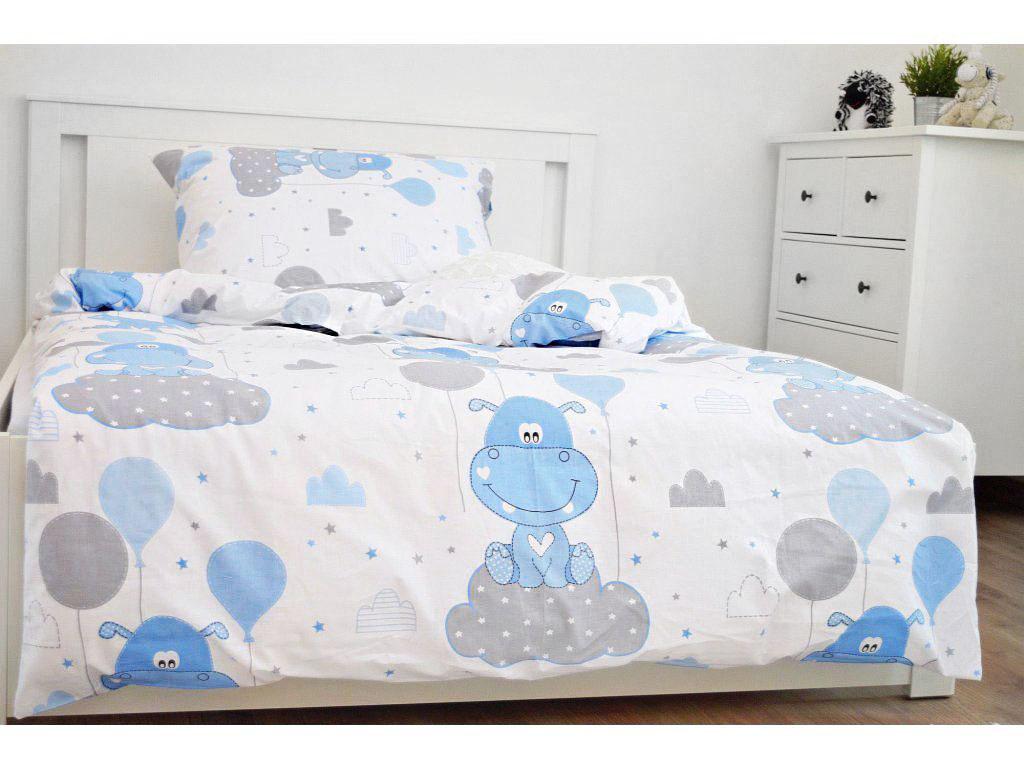 Bavlněné povlečení 140x200 - Hrošík modrý