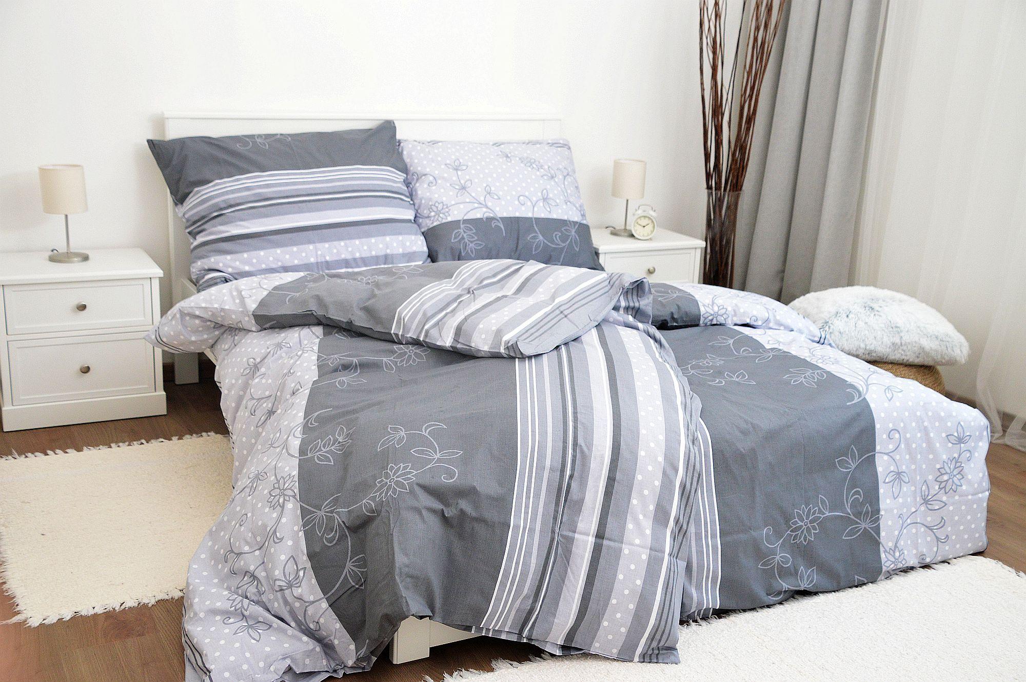 Bavlněné povlečení 140x200 - Bezkvět šedý