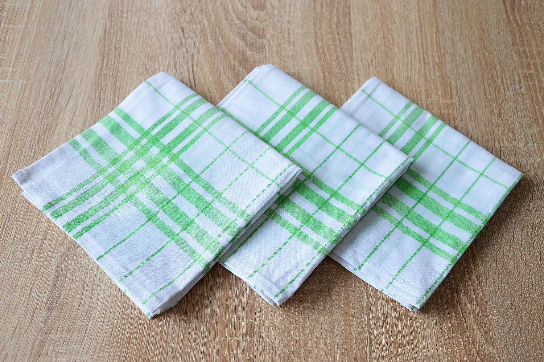 Bavlněná kuchyňská utěrka - zelená multipack