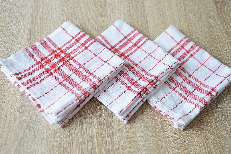 Bavlněná kuchyňská utěrka - červená multipack