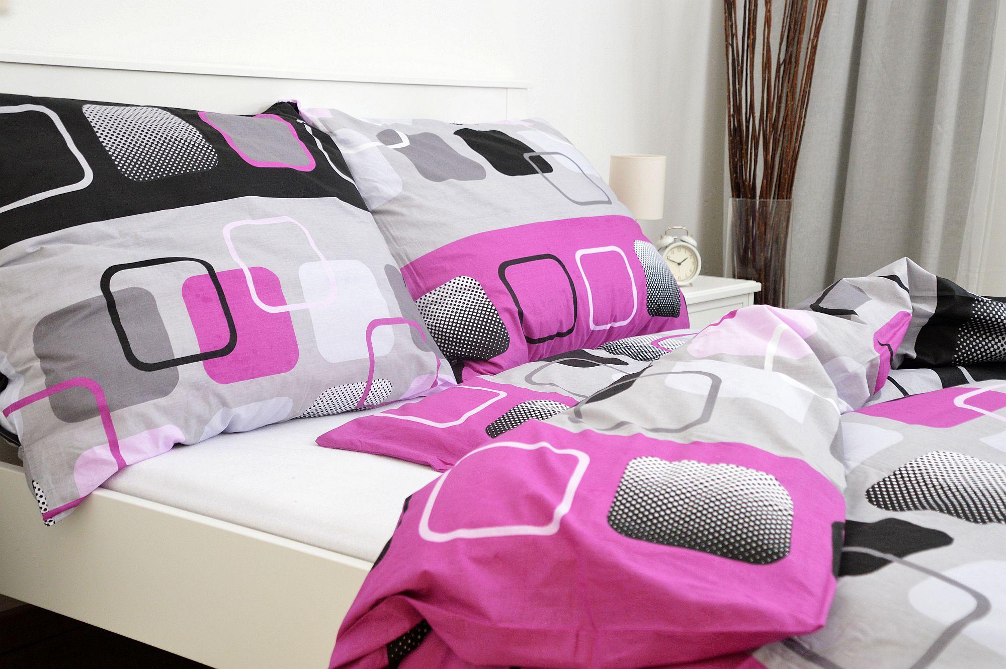 Bavlněný povlak na polštář 45x65 - Čtverce růžové