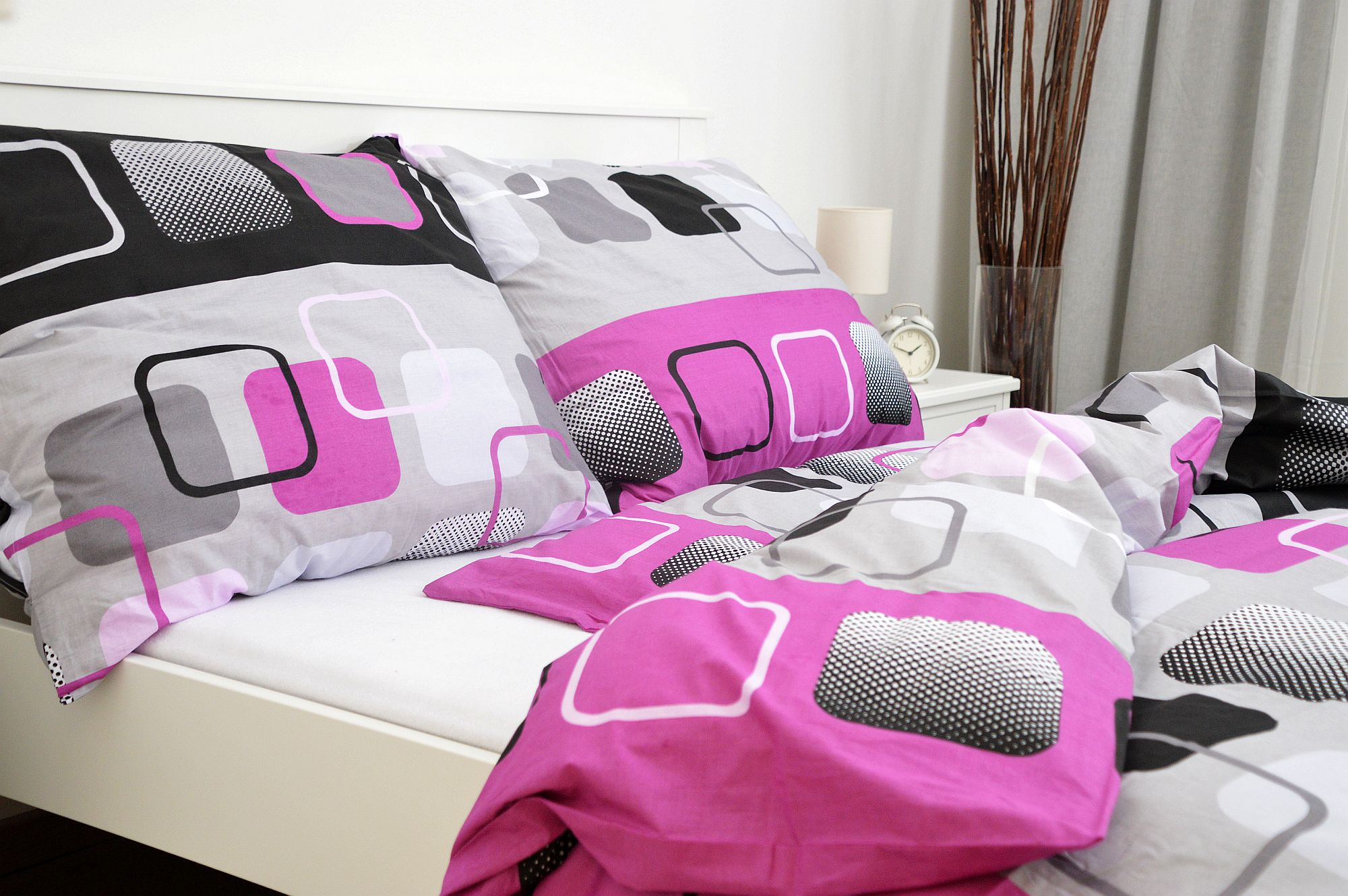 Bavlněný povlak na polštář 70x90 - Čtverce růžové