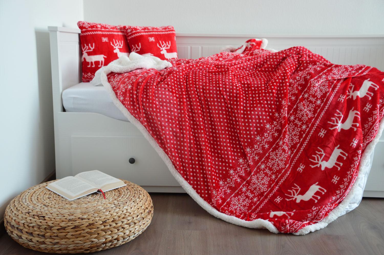 Oboustranná deka s beránkem - Vánoční červená - SOB