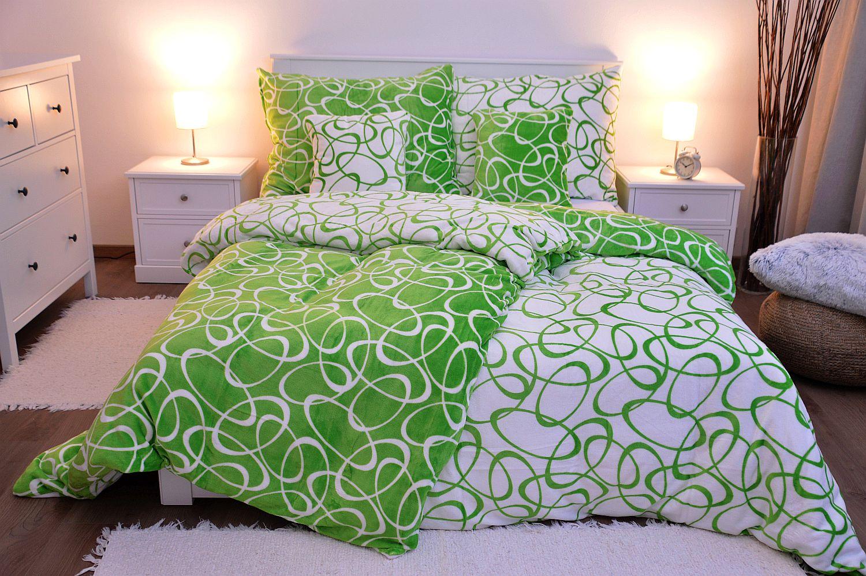 Povlečení MIKROFLANEL - Kirsty zelená 140x200 + 70x90