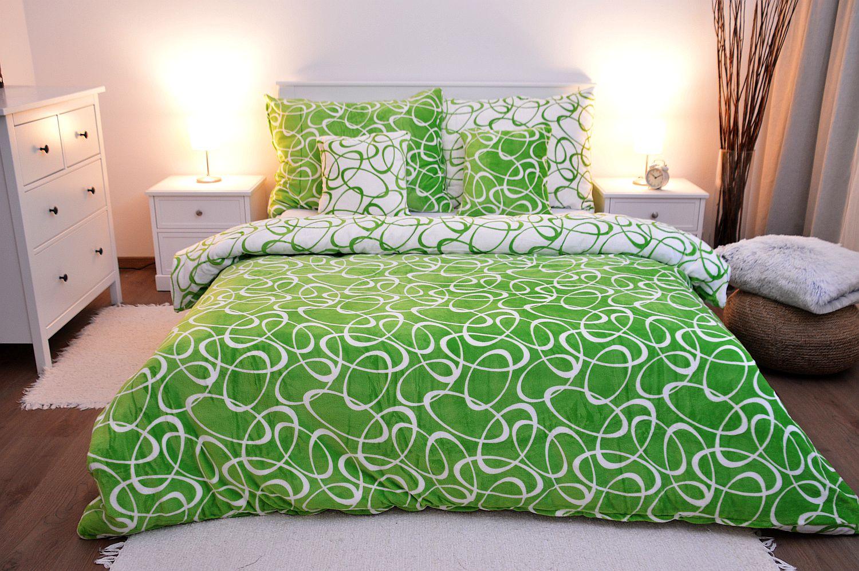 Povlečení MIKROFLANEL - Kirsty zelená 200x220
