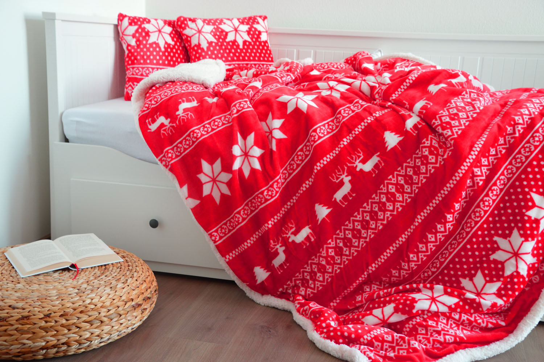 Oboustranná deka s beránkem - Vánoční červená
