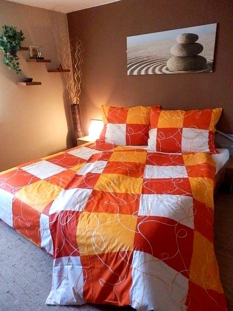 Bavlněné povlečení 140x200 - Šachovnice oranžová