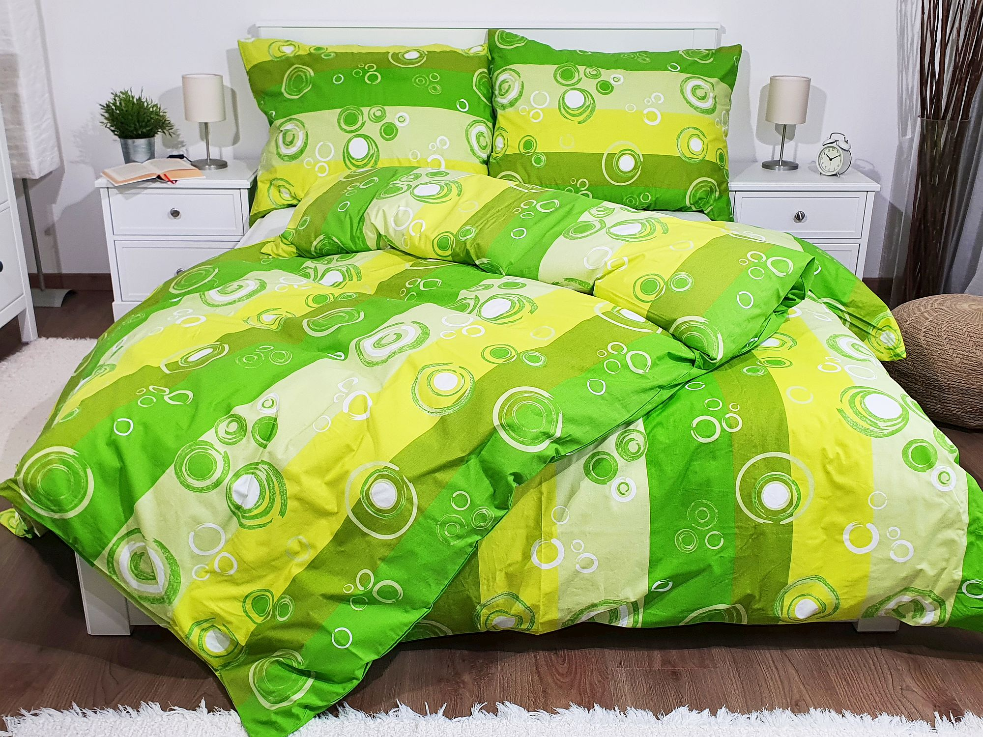 Bavlněné povlečení 140x200 - Kolečka zelená