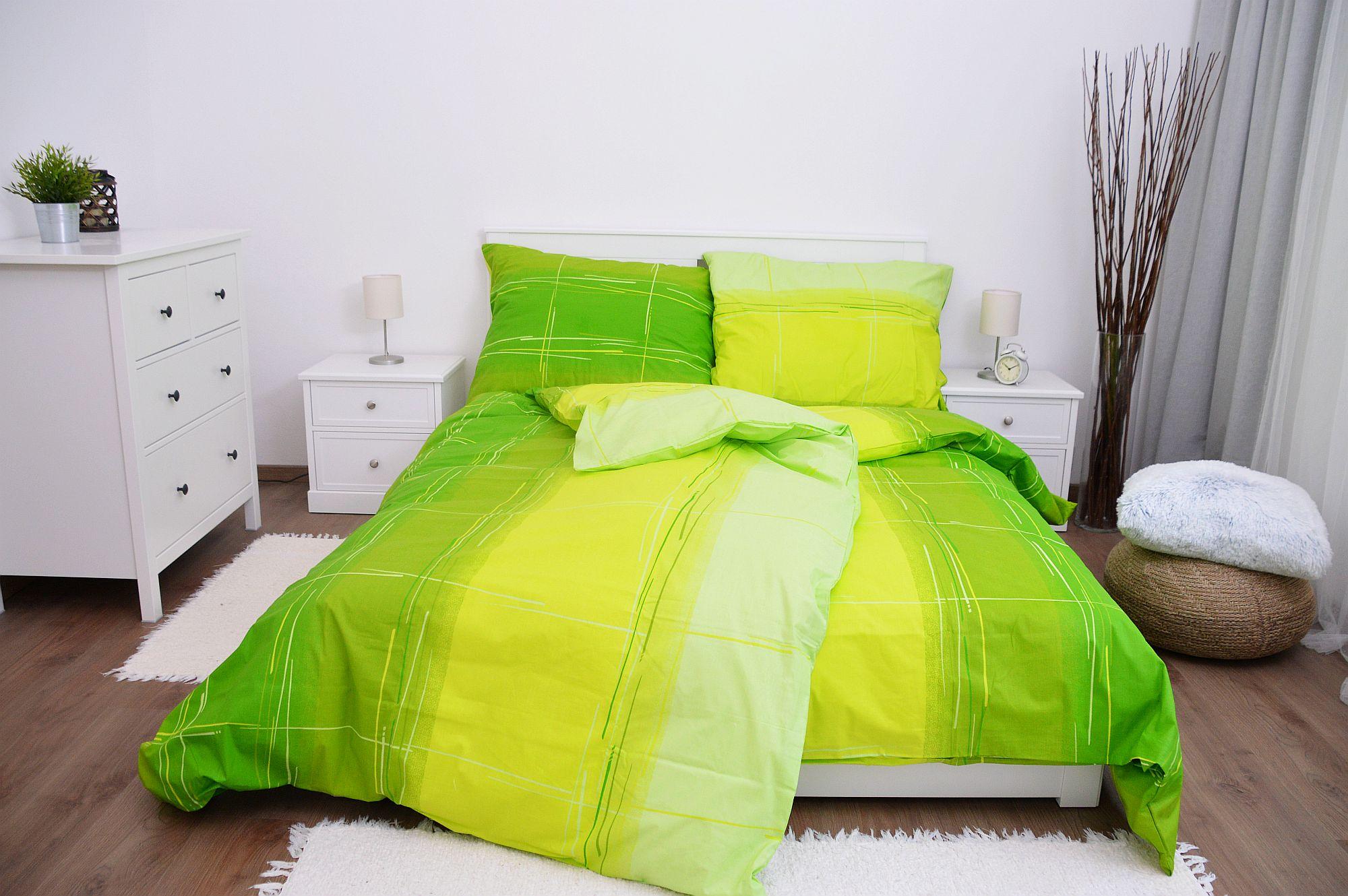 Bavlněné povlečení 140x220 - Cákance zelené