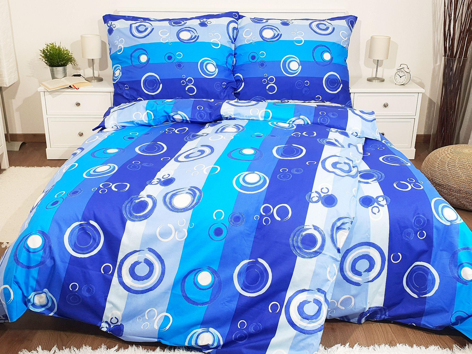 Bavlněné povlečení - 140x220  Kolečka modrá