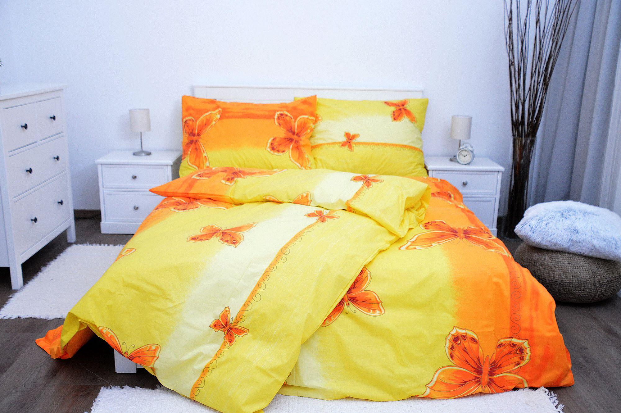 Bavlněné povlečení 200x200 - Motýl žlutý