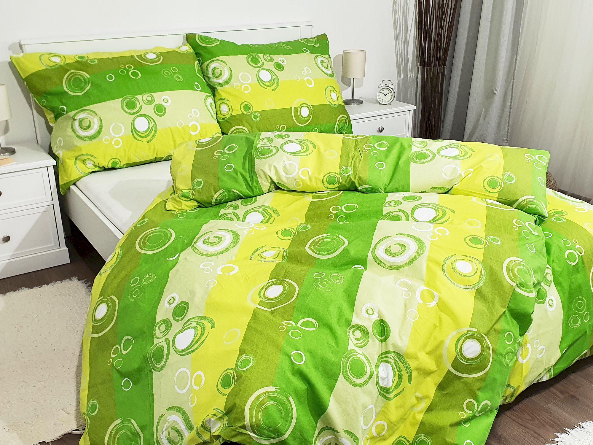 Bavlněné povlečení 200x220 - Kolečka zelená