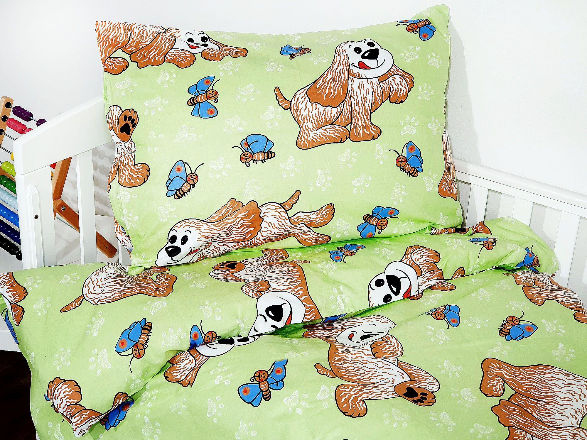 Detské obliečky - Psík zelený