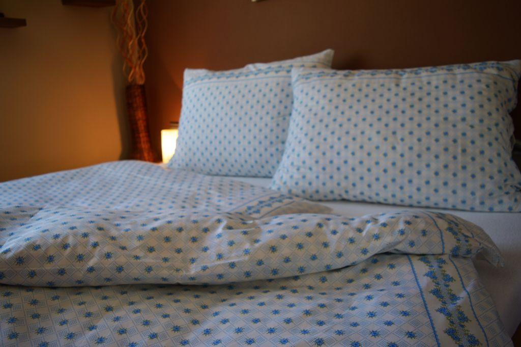 Bavlněný povlak na polštář 40x40 - Záhonky modré