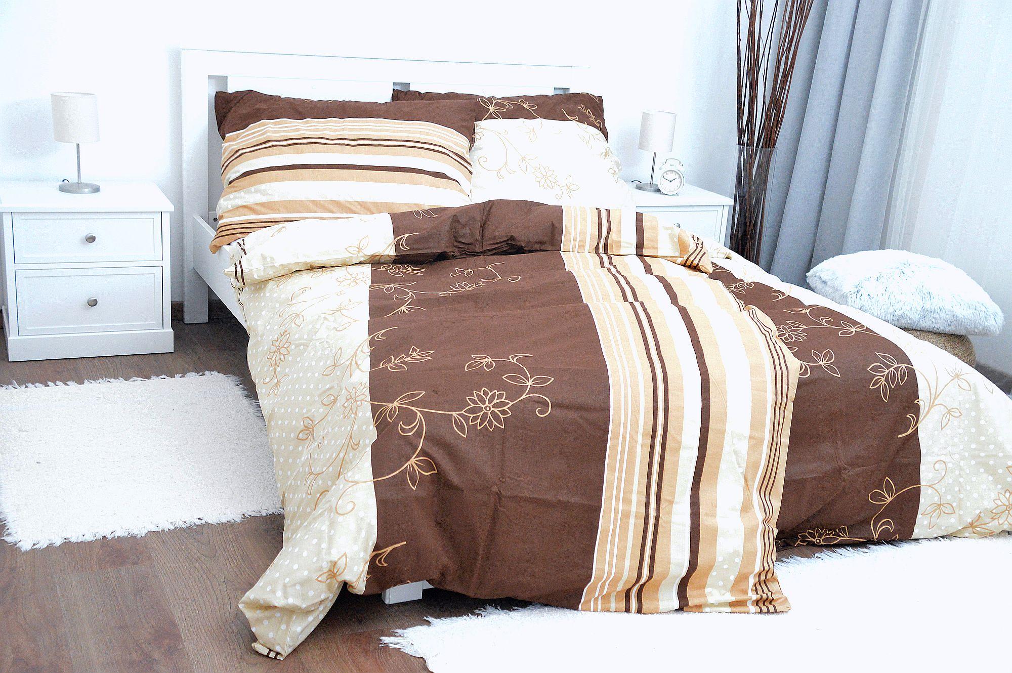Bavlněný povlak na polštář 70x90 - Pruh-květ hnědý