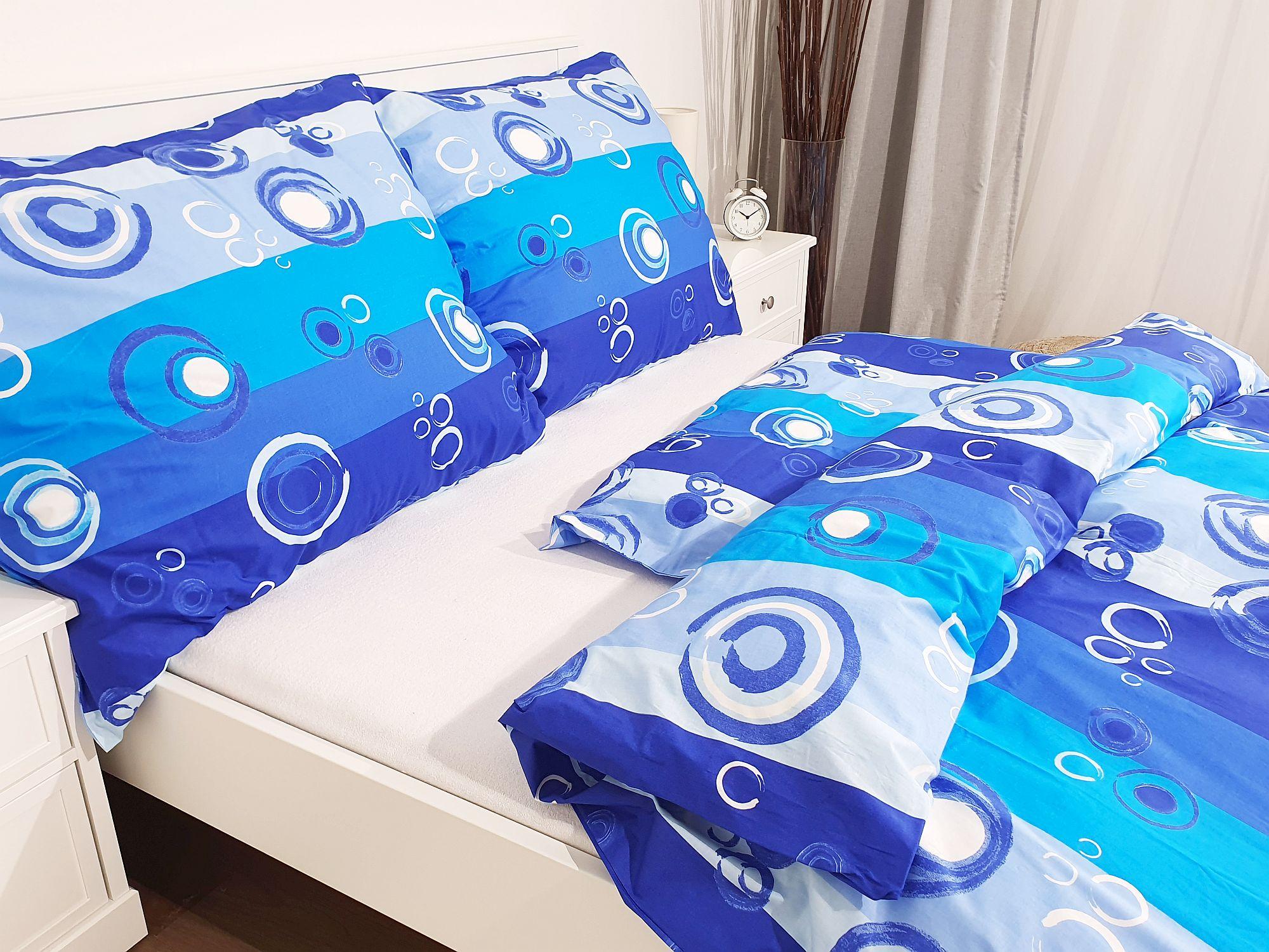 Bavlněný povlak na polštář 70x90 - Kolečka modrá