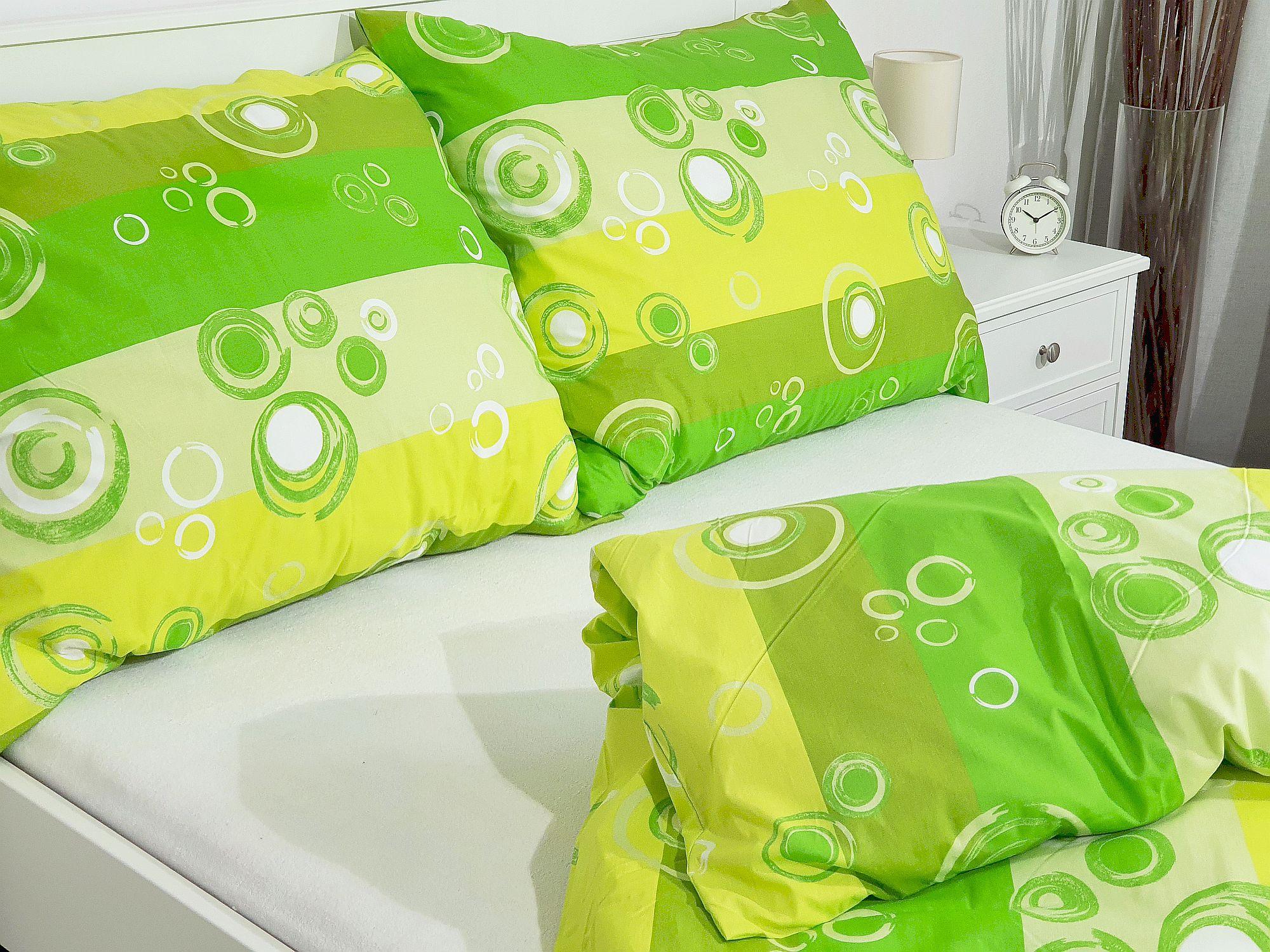 Bavlněný povlak na polštář 70x90 - Kolečka zelená