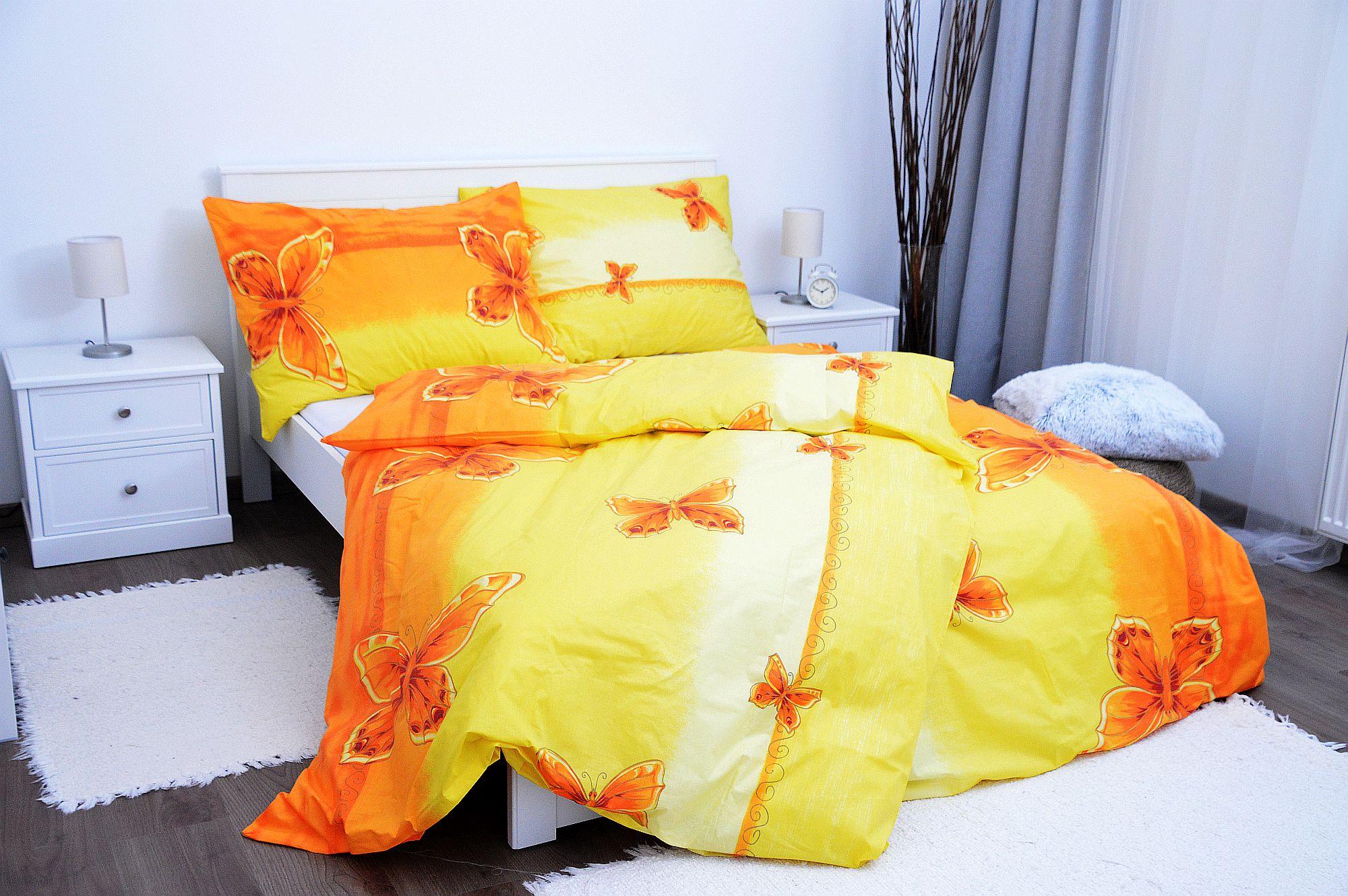 Bavlněný povlak na polštář 70x90 - Motýl žlutý