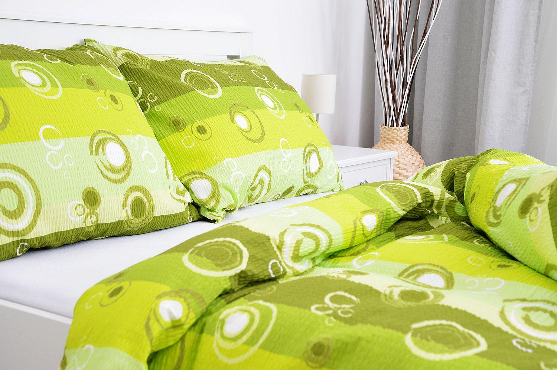 Krepový povlak na polštář  45x65 - Kolečka zelená
