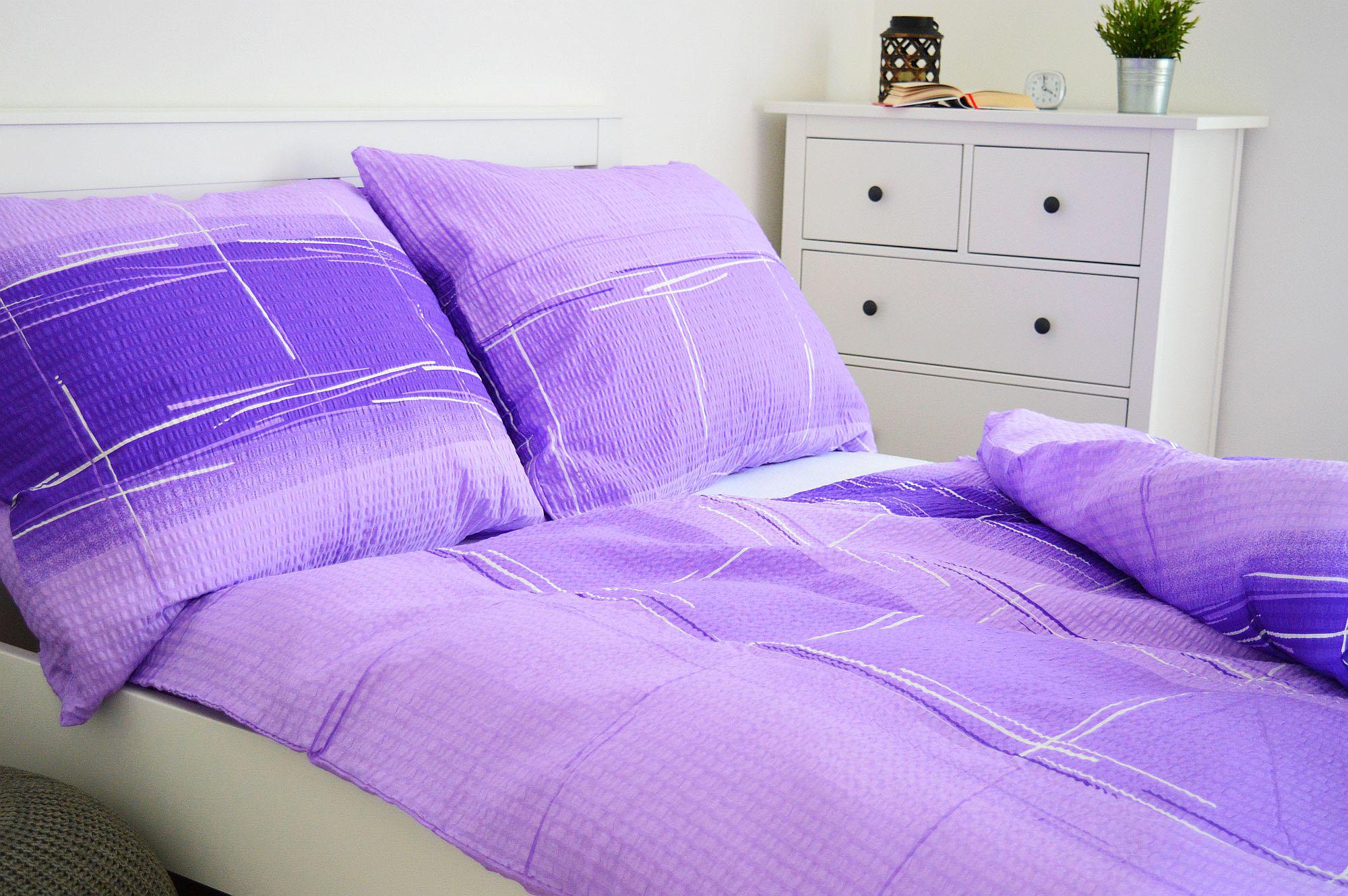 Krepový povlak na polštář  45x65 - Cákance fialové