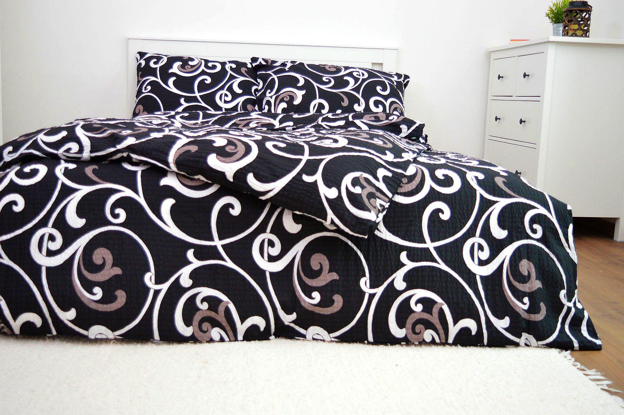 Krepový povlak na polštář  40x40 - Ornament černý