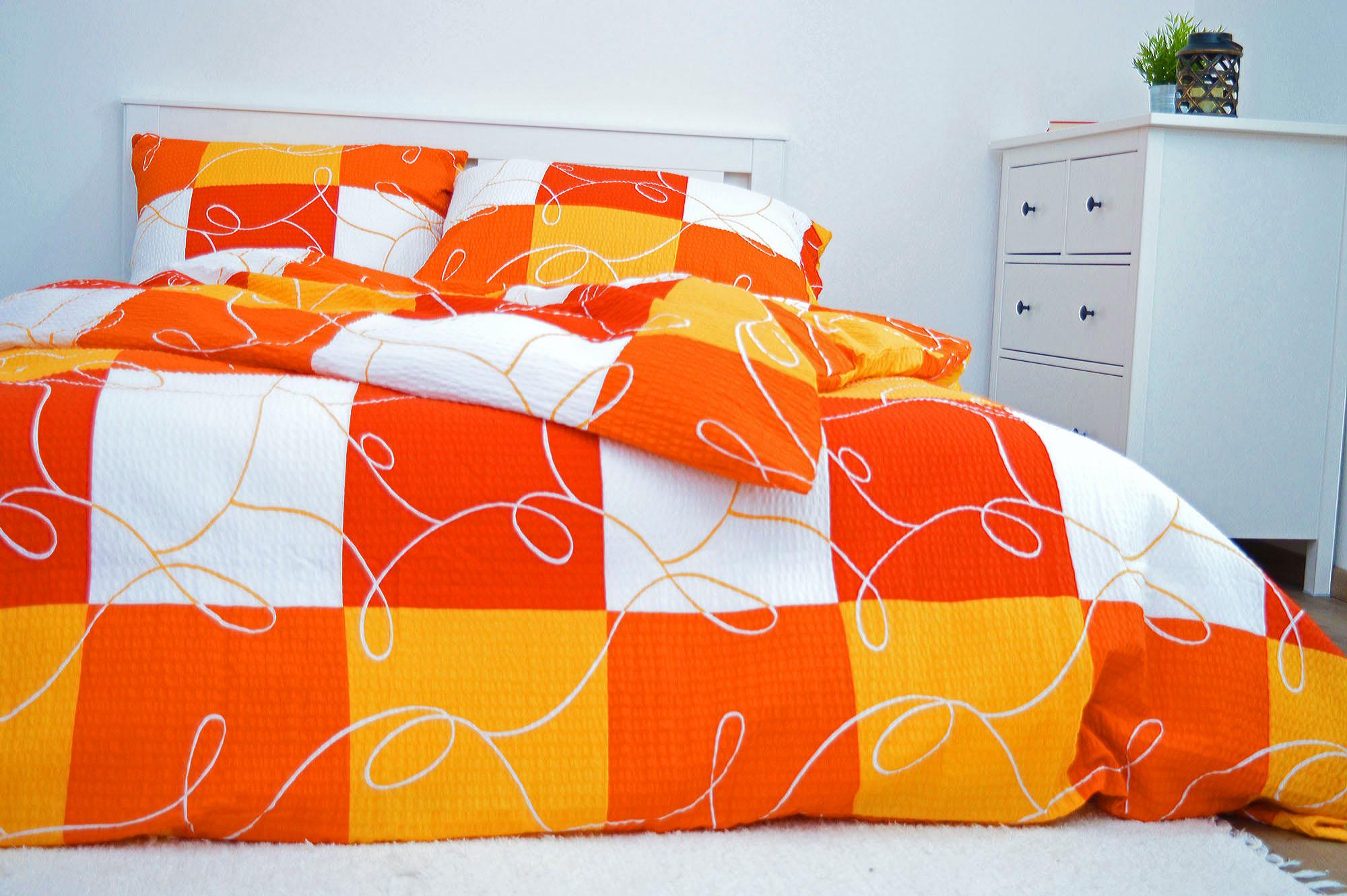 Krepový povlak na polštář  70x90 - Šachovnice oranžová