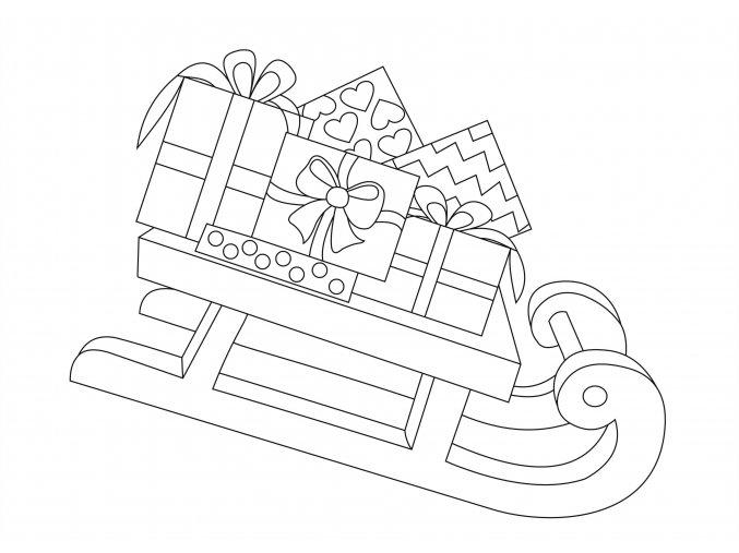 Šablona Vánoční motiv sáňky s dárečky