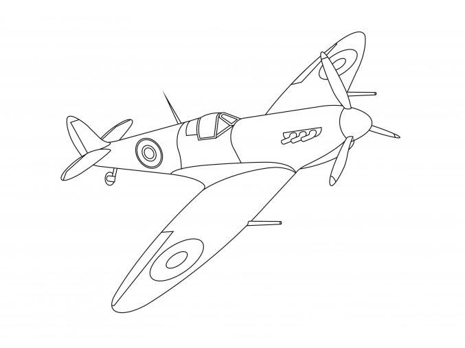Šablona Letadlo britský Spitfire