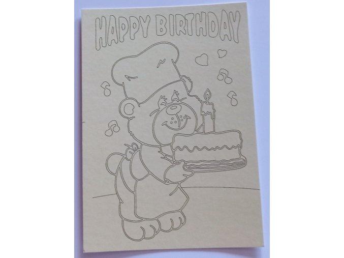 Šablona Medvídek s dortem