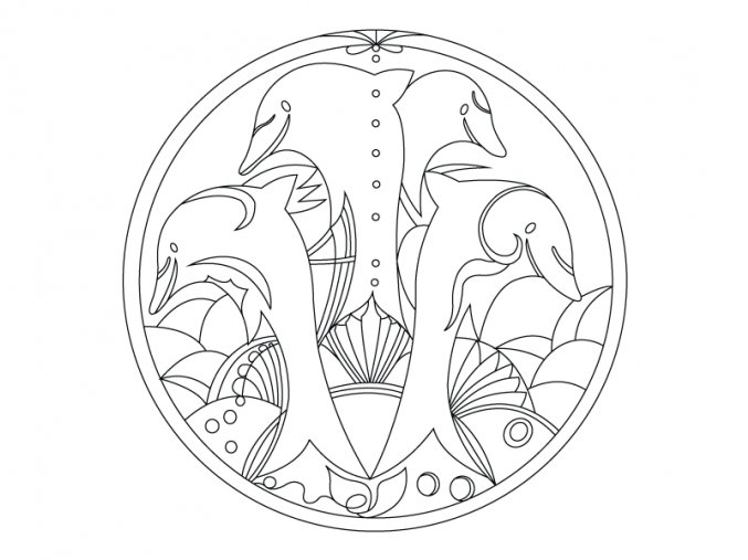 Mandala s delfíny